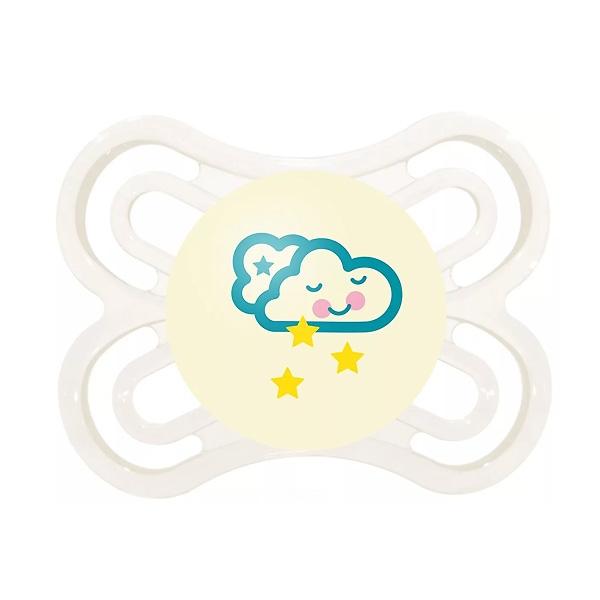 Пустышка MAM Perfect Night Силиконовая ночная (0-6 мес) белая (облака)<br>