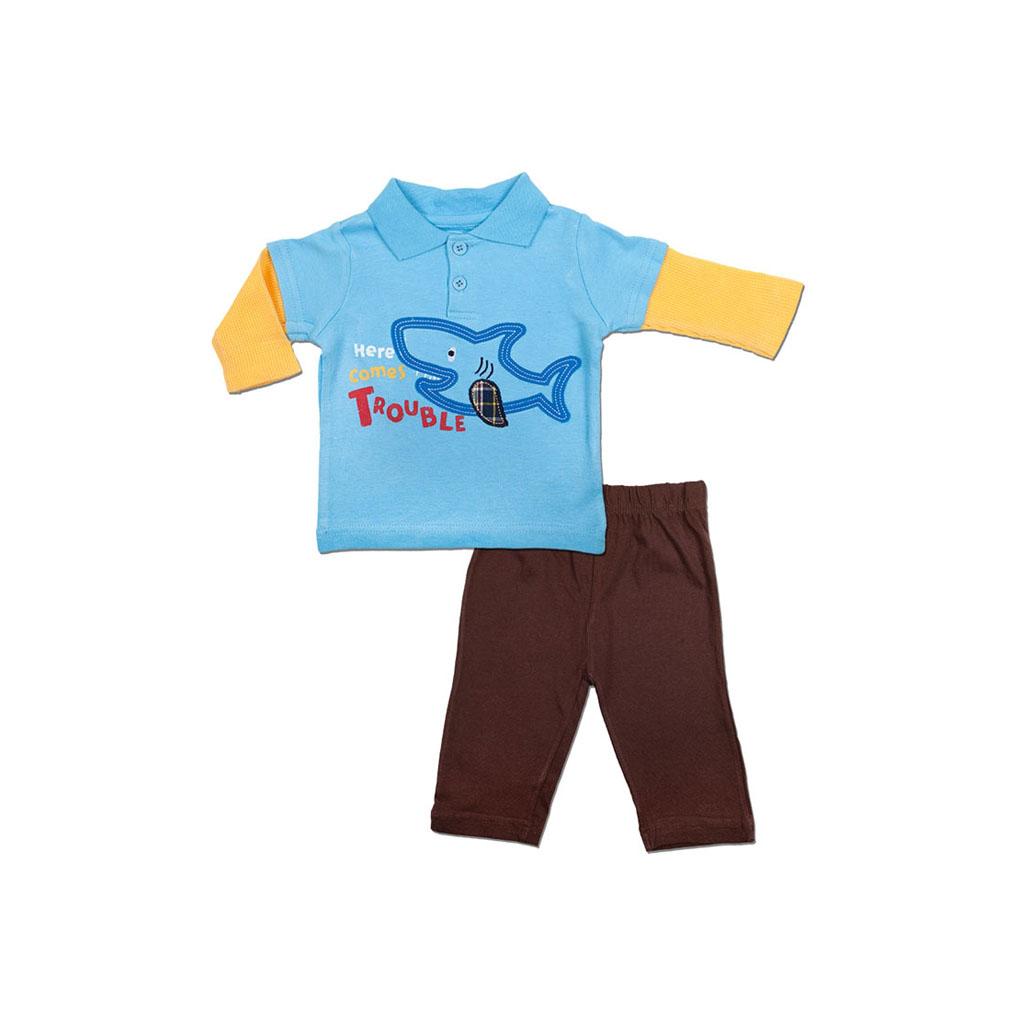 Комплект Bon Bebe Бон Бебе для мальчика: футболка-поло и штанишки, цвет голубой-коричневый 3-6 мес. (61-66 см)