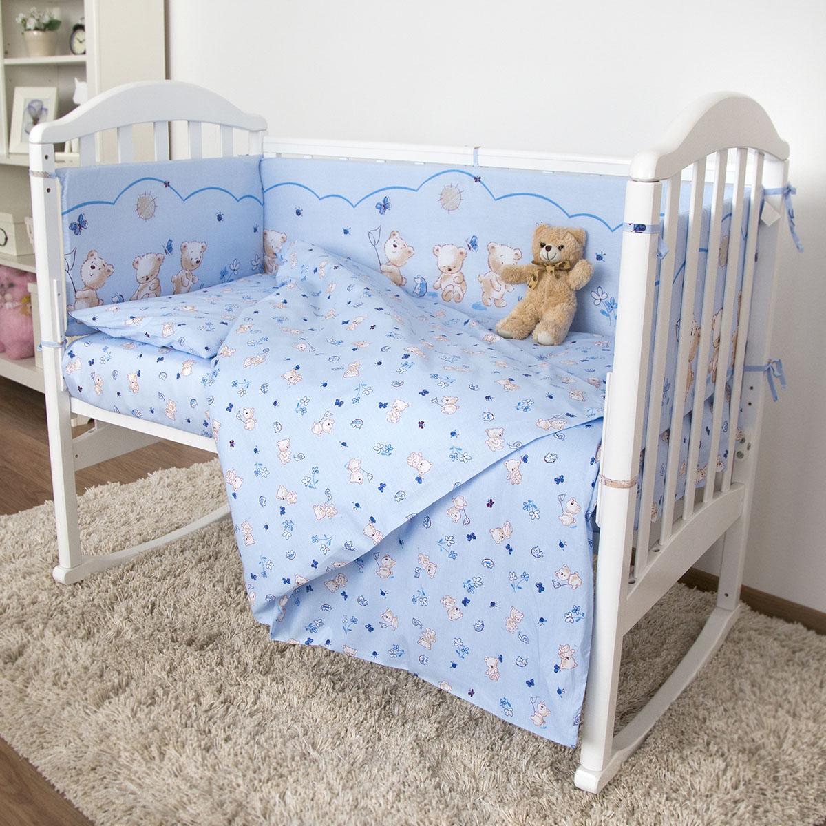 Комплект в кроватку Споки Ноки 6 предметов Мишки (голубой)<br>