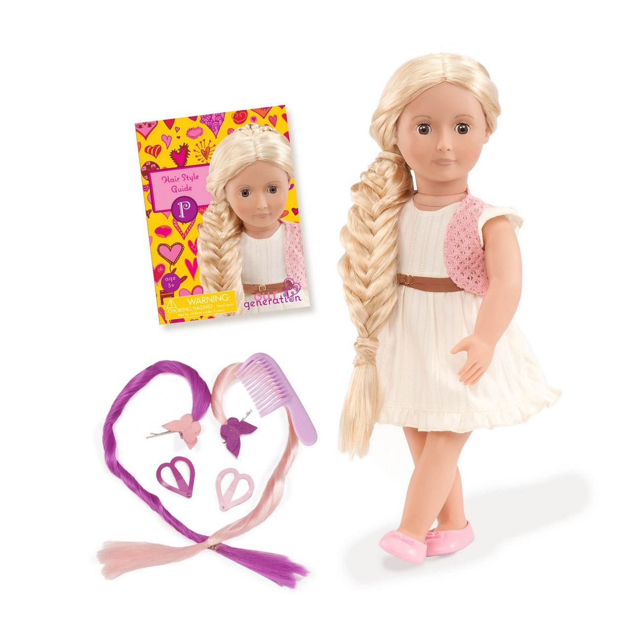 Кукла Our Generation ДеЛюкс Фиби с растущими волосами  46см с книжкой по созданию модных причесок<br>