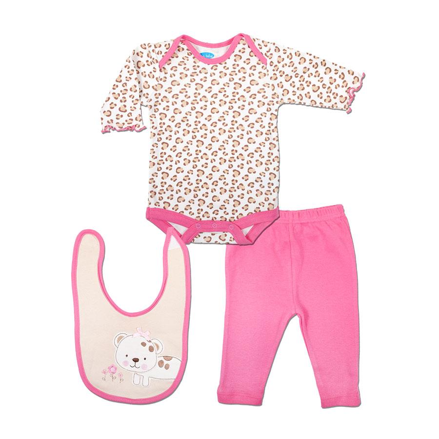 Комплект Bon Bebe Бон Бебе для девочки: боди длинный рукав, леггинсы, нагрудник,цвет бежевый-розовый 0-3 мес. (45-61 см)