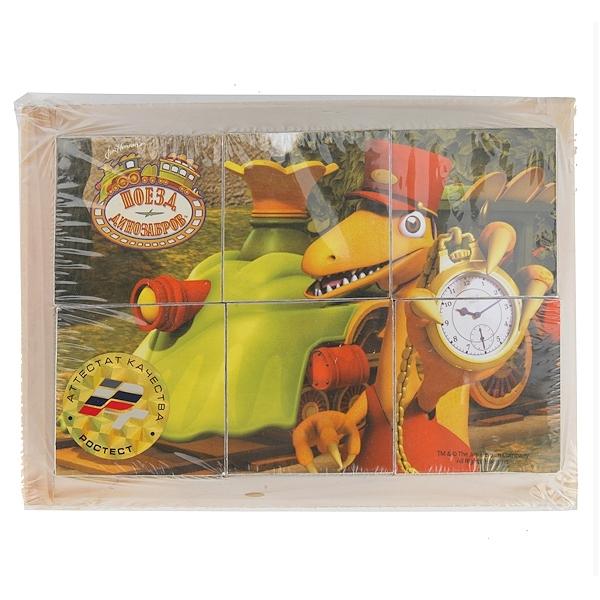 Деревянные кубики Играем вместе Поезд Динозавров (6 кубиков)<br>
