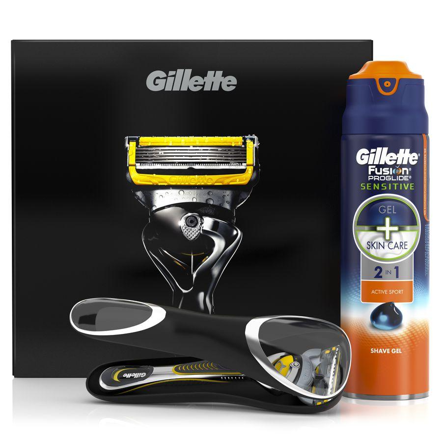 Подарочный набор Gillette Fusion ProShield Бритва с 1 кассетой + гель для бритья Active Sport 170 мл + чехол<br>