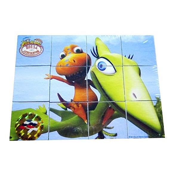 Деревянные кубики Играем вместе Поезд Динозавров (12 кубиков)<br>