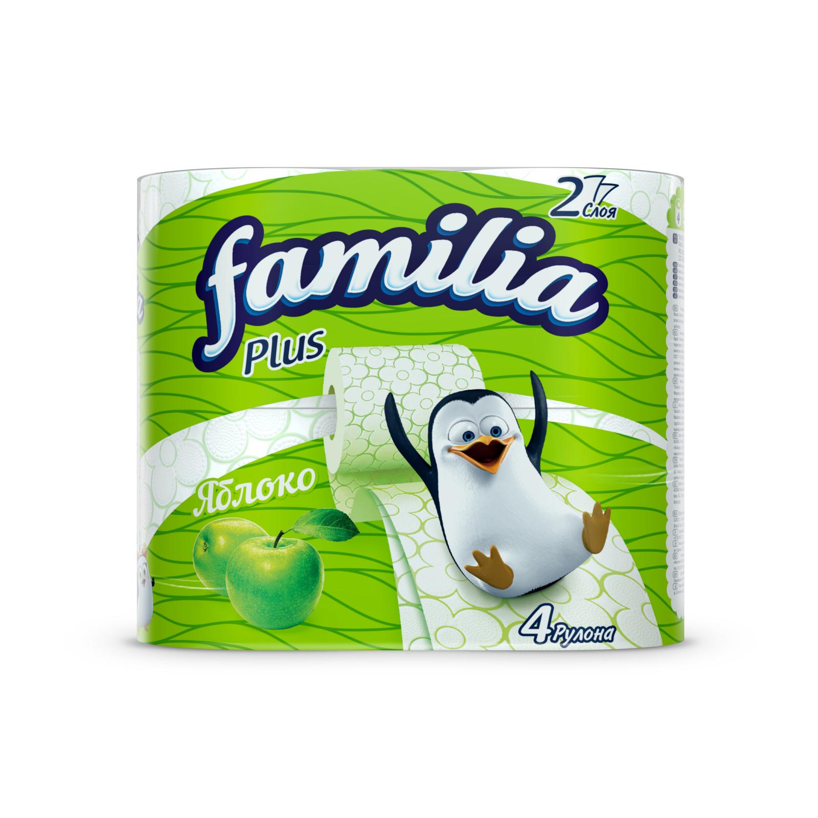 Туалетная бумага Familia Plus яблоко (2 слоя) 4 шт<br>