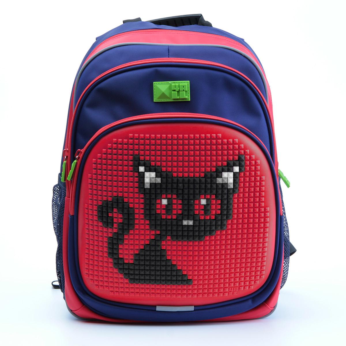 Рюкзак детский 4all KIDS Черная кошка Темно-синий / Красный + Пиксели<br>