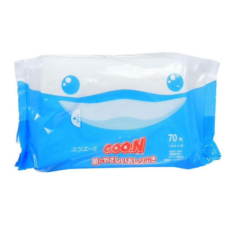 Салфетки влажные Goon с рождения (запасной блок) 70 шт<br>