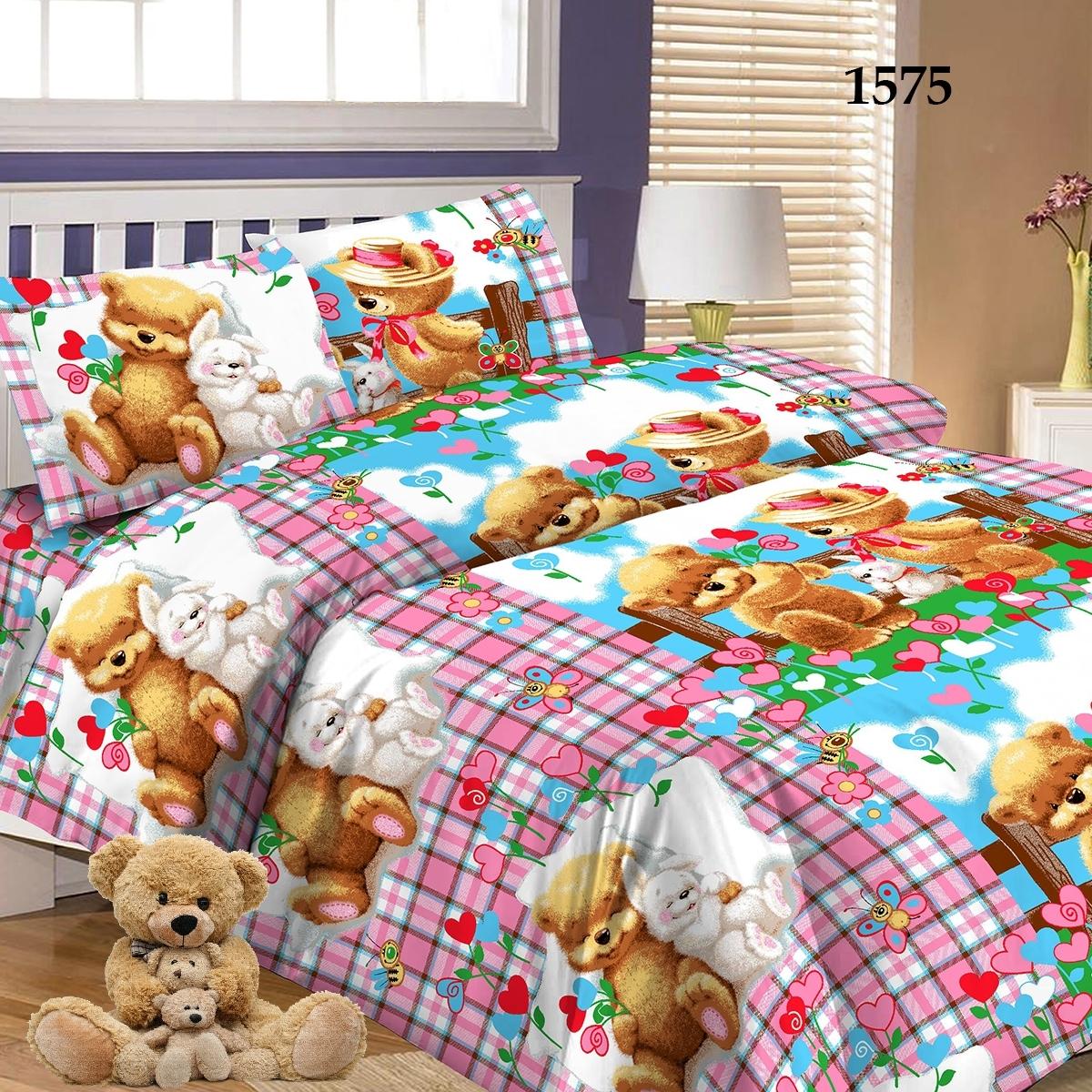 Комплект постельного белья детский Letto Мишки и зайка<br>