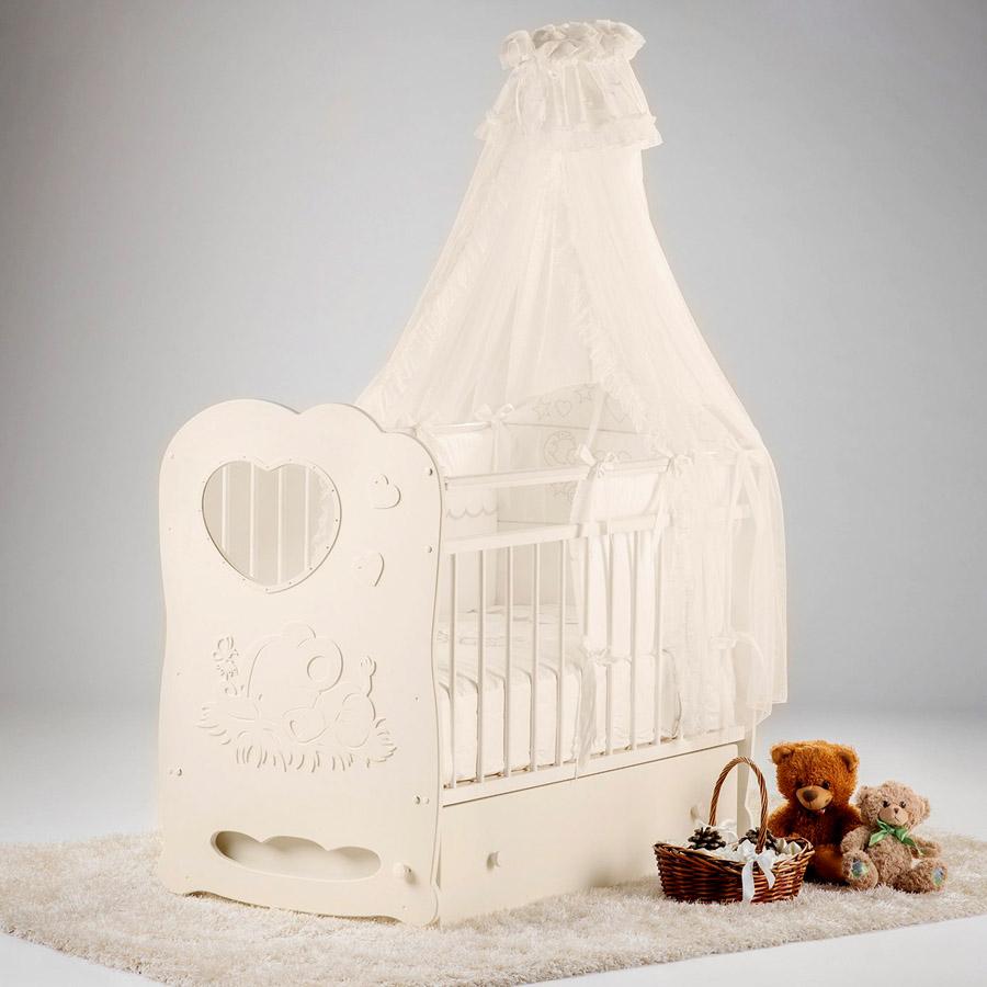 Кроватка Островок Уюта Слоненок маятник поперечный с ящиком Слоновая кость<br>