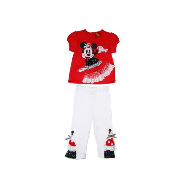 Комплект Дисней Минни футболка с коротким рукавом, штанишки белые, для девочки, красный 12 мес.