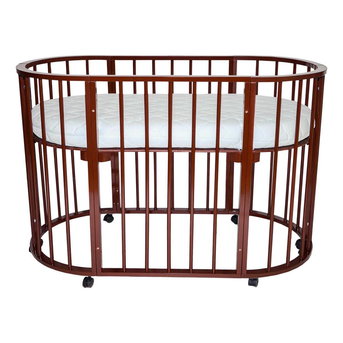Кроватка-трансформер Valle Domenica 9 в 1 овальная Шоколад<br>