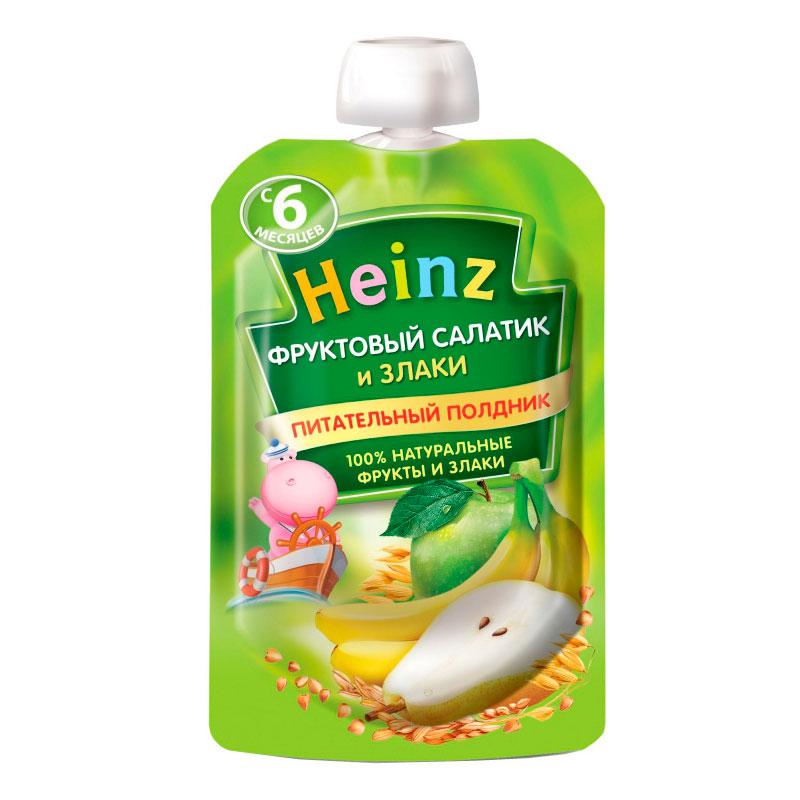 Пюре Хайнц фруктовое со  злаками 90 гр Фруктовый салатик (с 6 мес)<br>