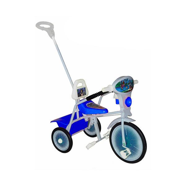 Велосипед трехколесный Малыш с ручкой и ограждением Синий<br>