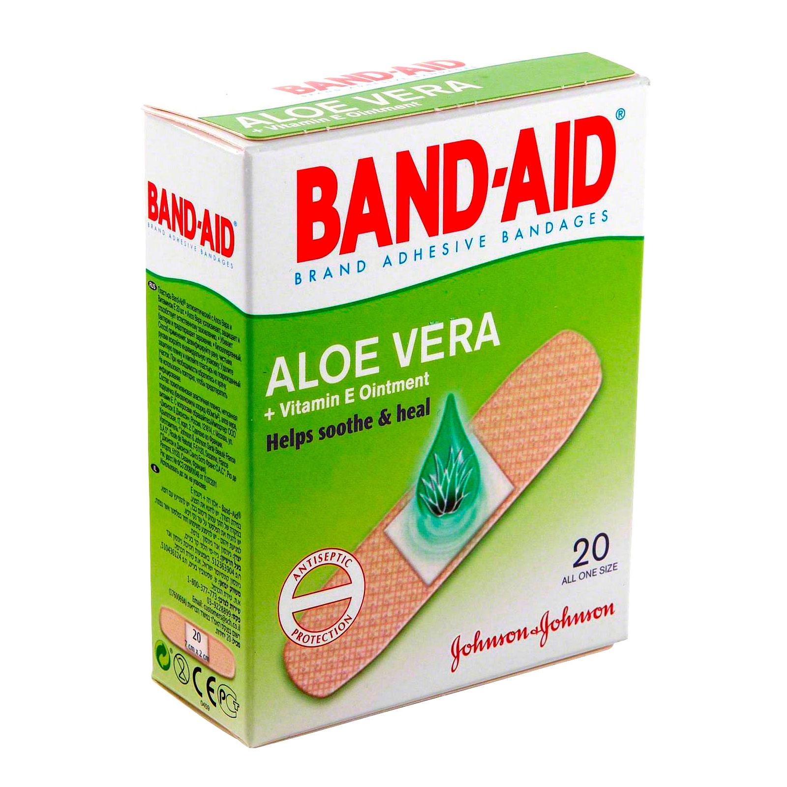 Пластырь Band-Aid антисептический с Алоэ и витамином Е 20шт<br>