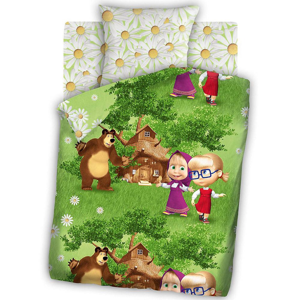 Комплект постельного белья детский бязь Непоседа Маша и Медведь Двое на одного<br>