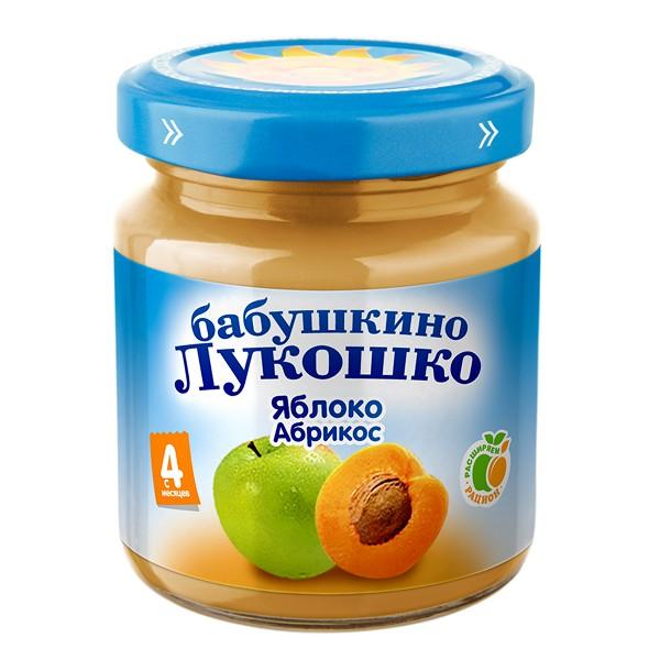 Пюре Бабушкино лукошко фруктовое 100 гр Яблоко с абрикосом (с 5 мес)<br>