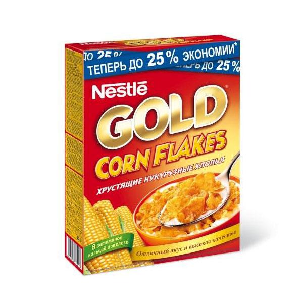 Готовые завтраки Nestle 330 гр. Gold Голд (кукурузные хлопья)<br>