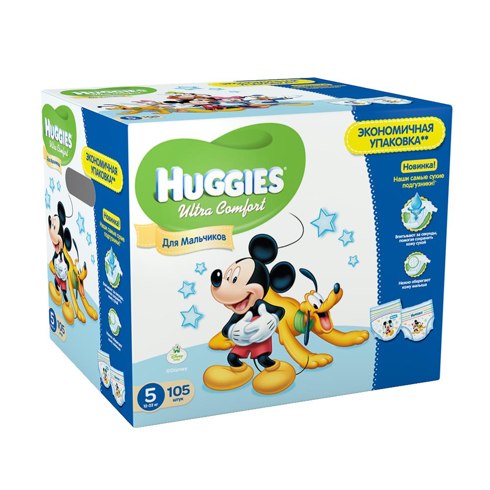 Подгузники Huggies Ultra Comfort Disney для мальчиков 12-22 кг (105 шт) Размер 5<br>