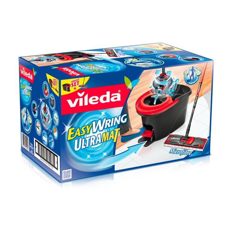 Набор Vileda Ultramat Easy Wring швабра со сборной ручкой + ведро с  педальным отжимом<br>