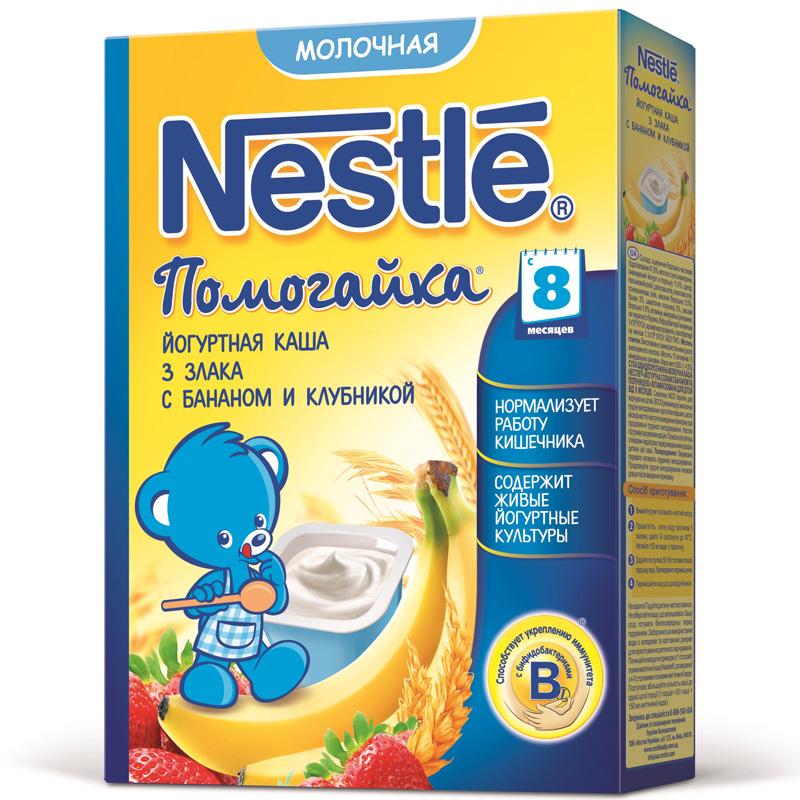 Каша Nestle Помогайка молочная йогуртная 200 гр 3 злака с бананом и клубникой (с 8 мес)<br>