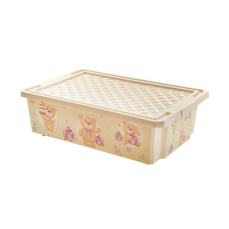 Ящик для хранения игрушек Little Angel X-Box Bears 30л на колесах Слоновая кость<br>