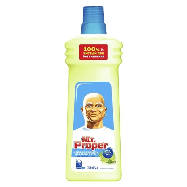 Моющая жидкость Mr Proper для полов и стен 750 мл Бодрящий лайм и мята<br>