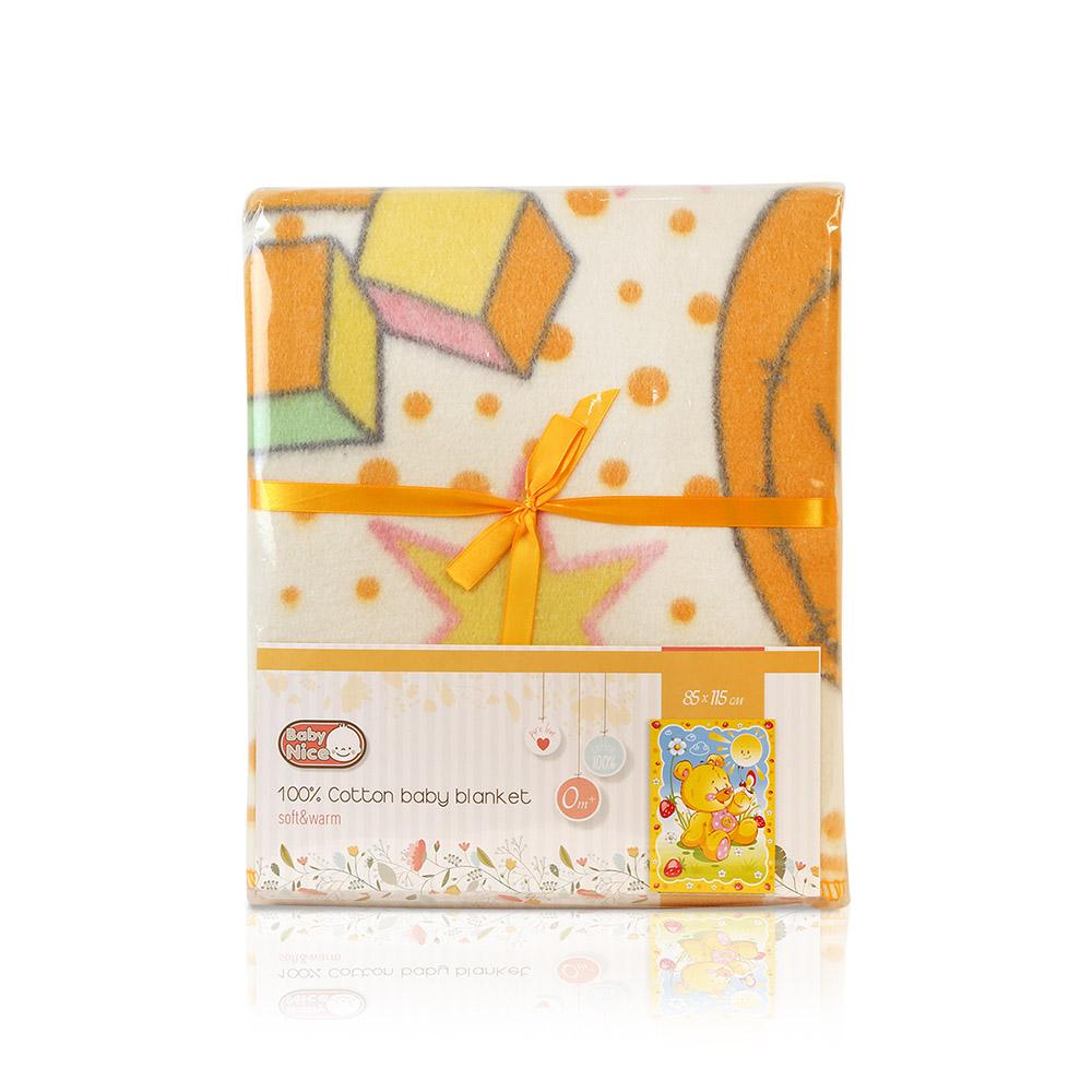 Одеяло Baby Nice байковое 100% хлопок 85х115 Солнечный мишка (Baby nice)