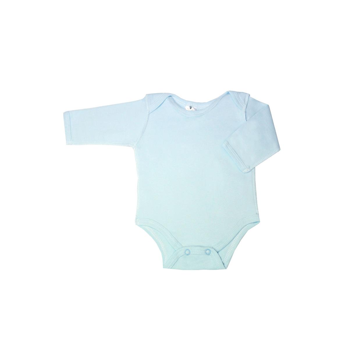 Боди с рукавом КОТМАРКОТ для мальчика, цвет однотонный голубой 6-9 мес (размер 74)<br>