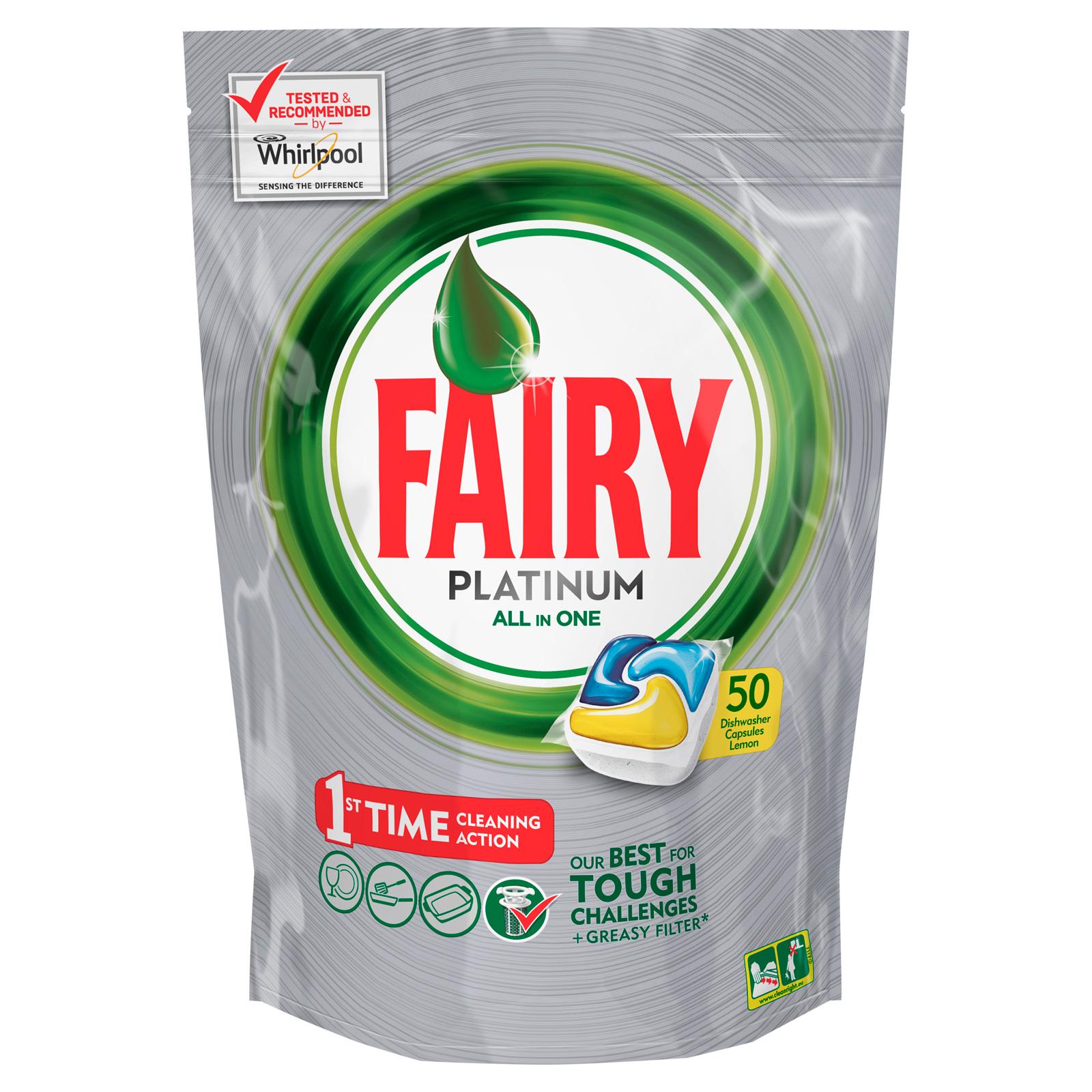Капсулы для посудомоечной машины FAIRY Platinum All In One Лимон (50 шт)<br>