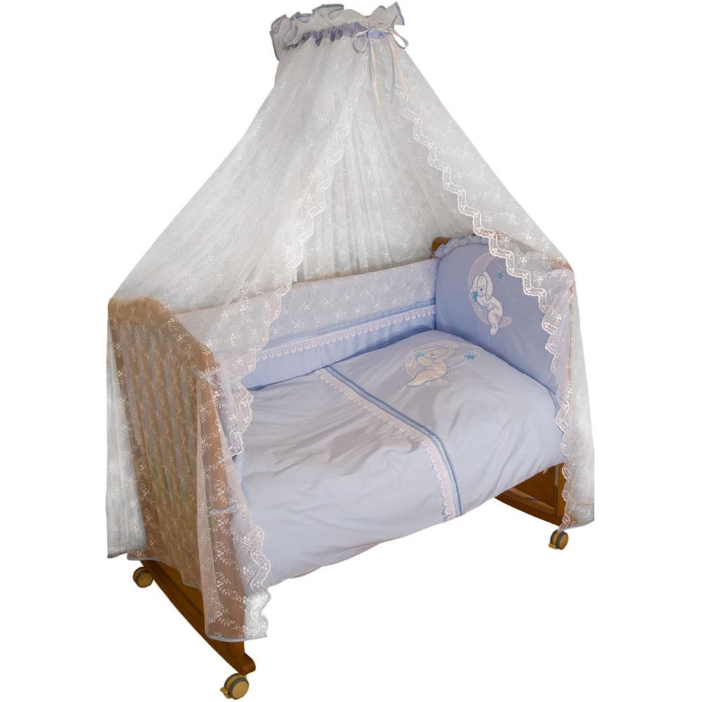 Комплект в кроватку Сонный гномик Лунынй зай Голубой<br>
