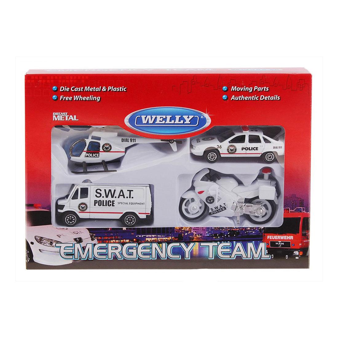 Машинка Welly Служба спасения - полиция  4 шт.<br>