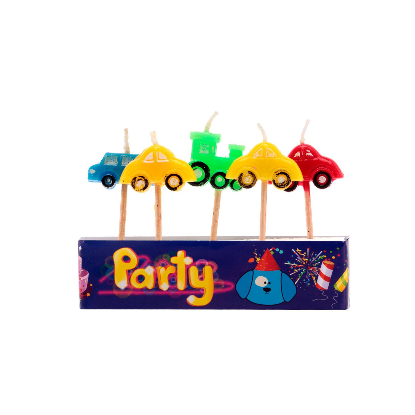 Набор свечей ACTION! Машинки 5 свечей на палочках<br>
