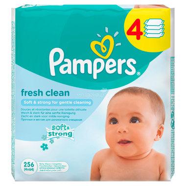 Салфетки влажные Pampers Baby Fresh Clean Сменный блок (4 х 64 шт) 256 шт