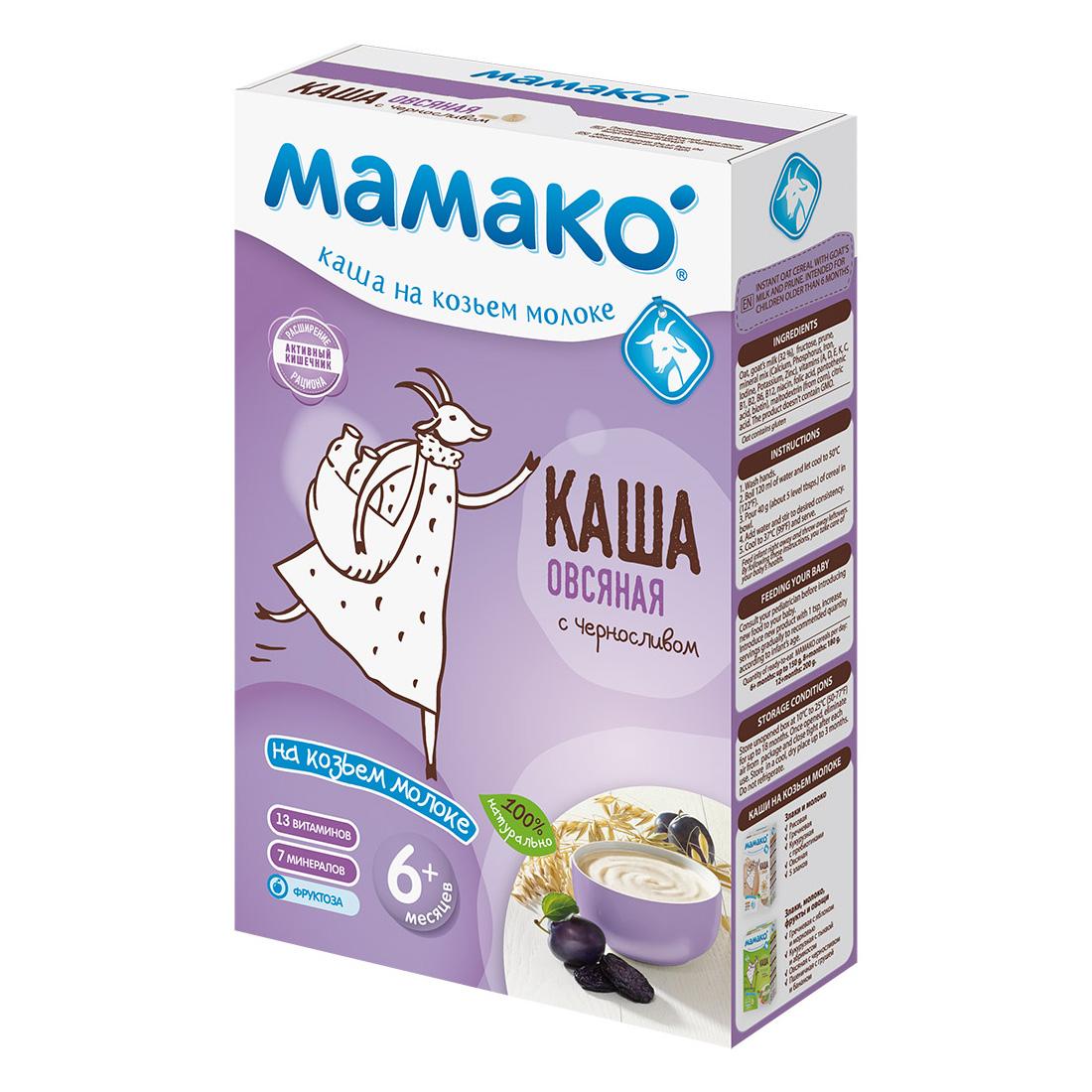Каша Mamako на козьем молоке 200 гр Овсяная с черносливом с 6 мес<br>