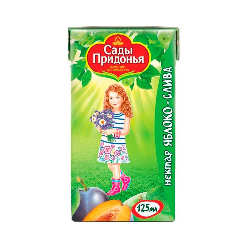 Нектар Сады Придонья 125 мл (тетрапак) Яблоко сливова с мякотью (с 5 мес)<br>