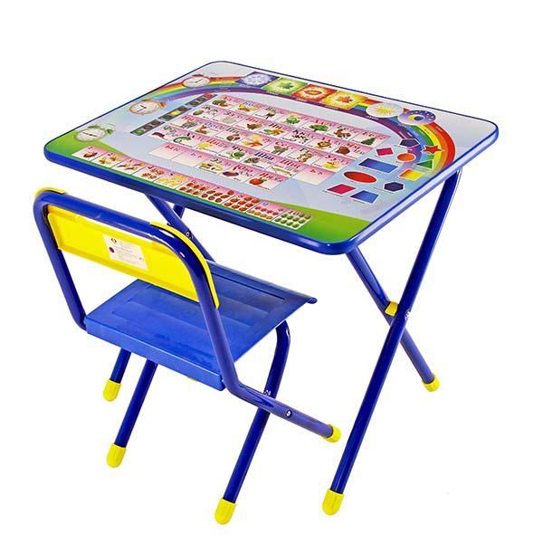 Набор мебели стол и стул Дэми №1 Синий Алфавит<br>