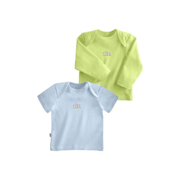 Комплект Наша Мама Be happy футболки (2 шт) рост 74 голубой, салатовый<br>
