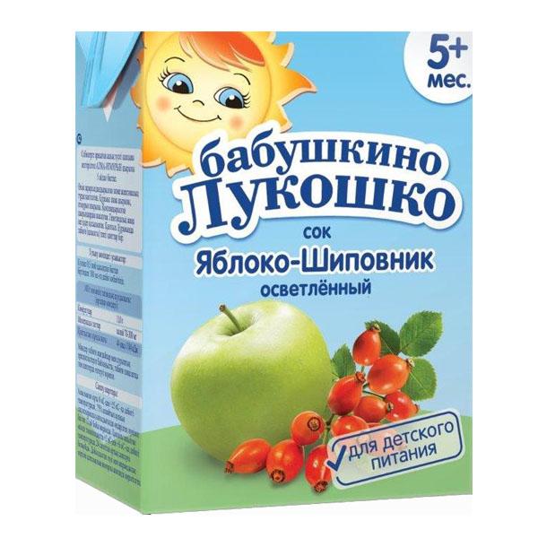 Сок Бабушкино лукошко 200 мл (тетрапак) Яблоко шиповник (с 5 мес)<br>