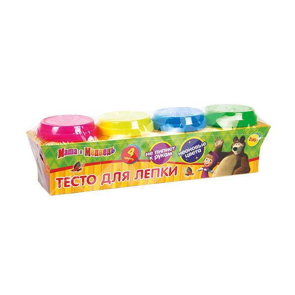 Набор Multiart Тесто для лепки Маша и медведь Неоновое 4 цвета х 50 грамм и формочки<br>