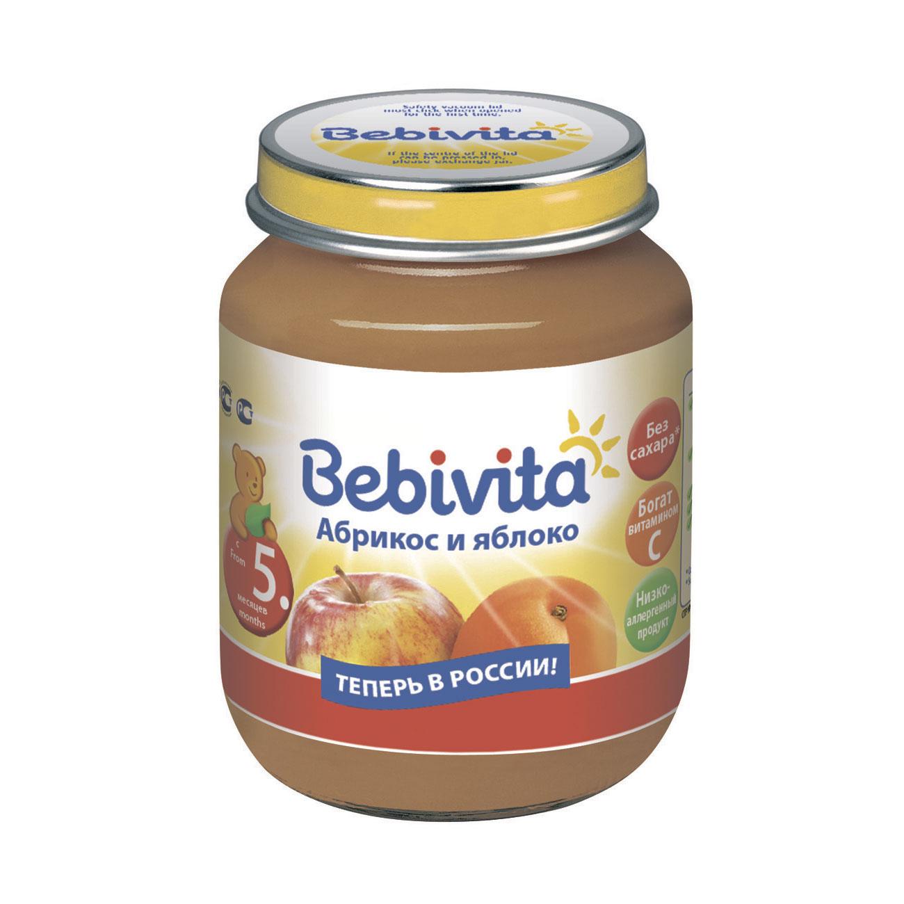 Пюре Bebivita фруктовое 100 гр Абрикос яблоко (с 5 мес)<br>