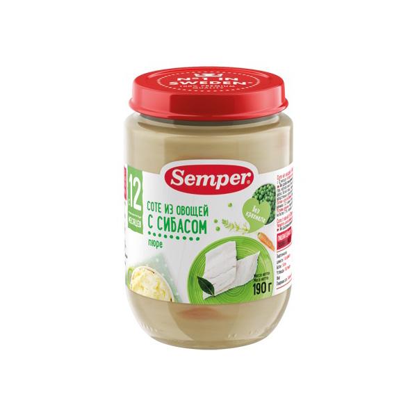 Пюре Semper рыбное с овощами 190 гр Соте из овощей с Сибасом (с 12 мес)<br>