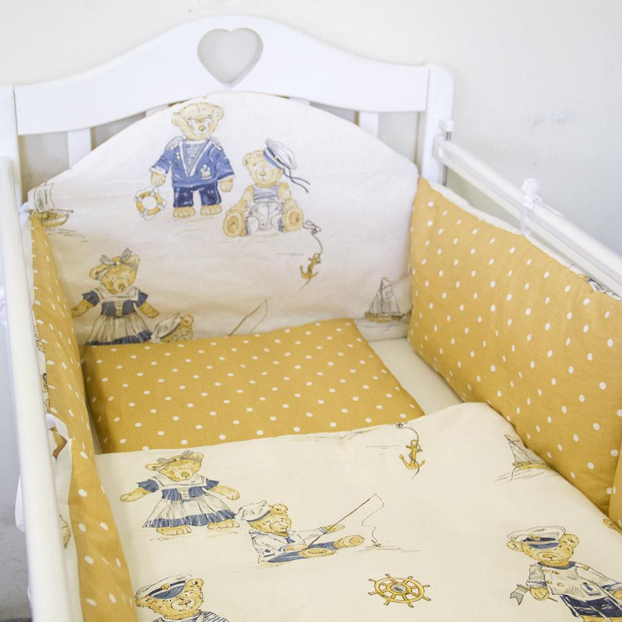 Комплект в кроватку ByTwinz с бортиками-подушками 6 предметов Мишки Бежевые<br>