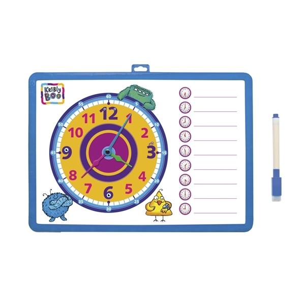Доска-часы Kribly Boo двусторонняя с маркером В ассортименте (Синяя, Розовая, Зеленая, Желтая)<br>