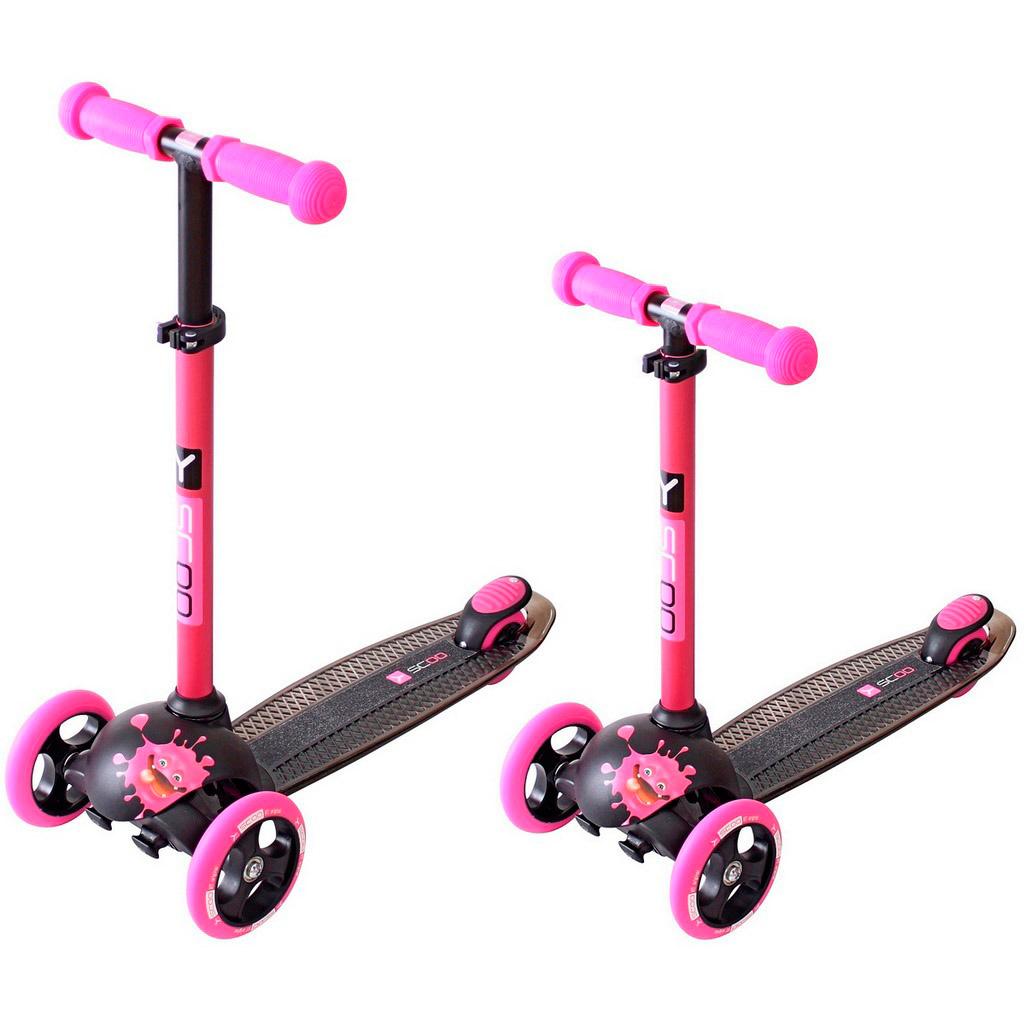 Самокат Y-SCOO RT Trio Diamond 120 Monsters 3 высоты с блокировкой колес Pink Zoi<br>