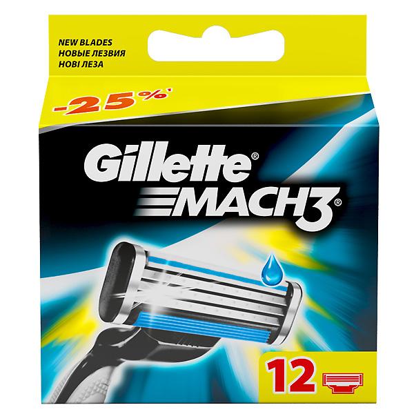 Cменные кассеты для бритья Gillette MACH3 12 шт<br>