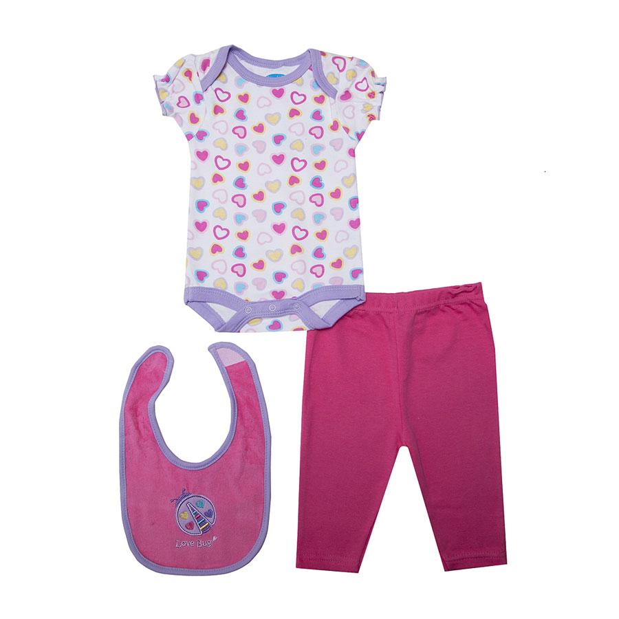 Комплект Bon Bebe Бон Бебе для девочки: боди, штанишки, нагрудник, цвет фиолетовый-малиновый 6-9 мес. (67-72 см)