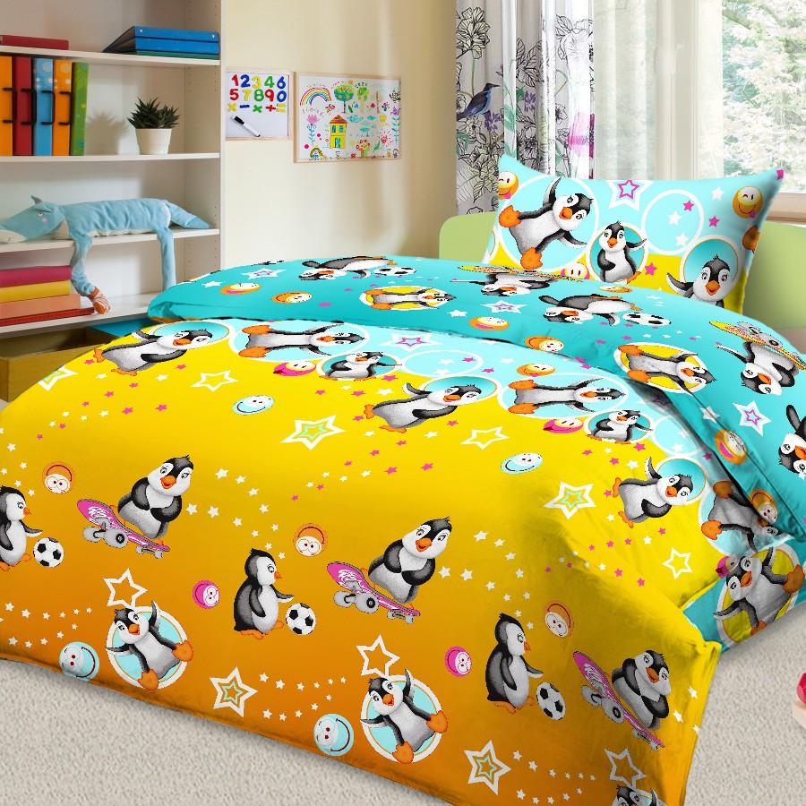 Комплект постельного белья детский Letto с наволочкой 50х70 Пингвин<br>