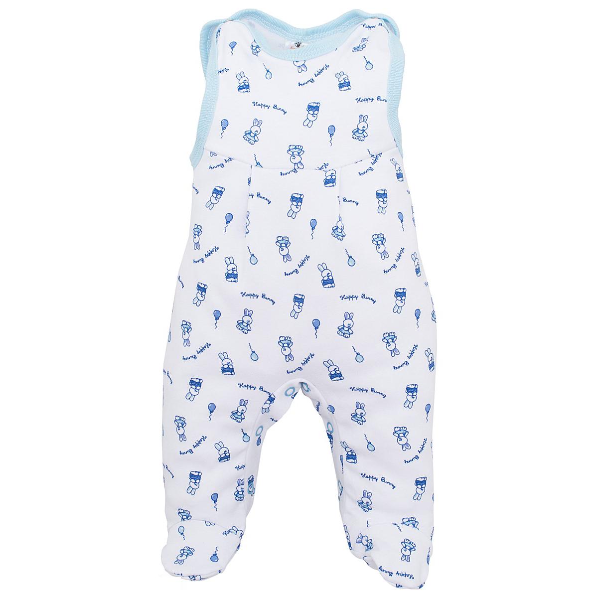Высокие ползунки КОТМАРКОТ для мальчика, цвет набивка голубой тон 9-12 мес (размер 80)<br>