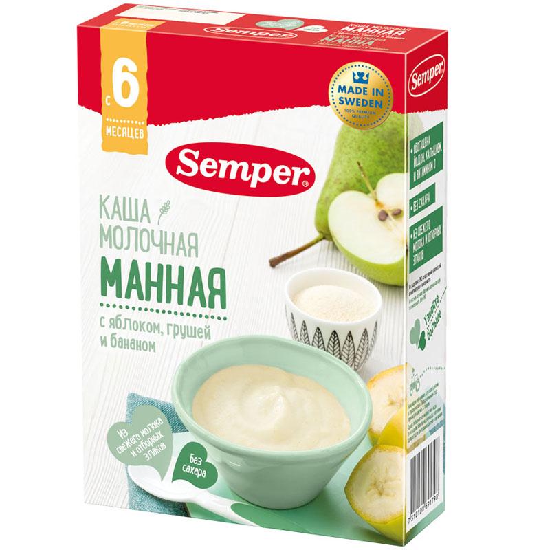 Каша Semper молочная 200 гр Манная с яблоком грушей и бананом (с 6 мес)<br>