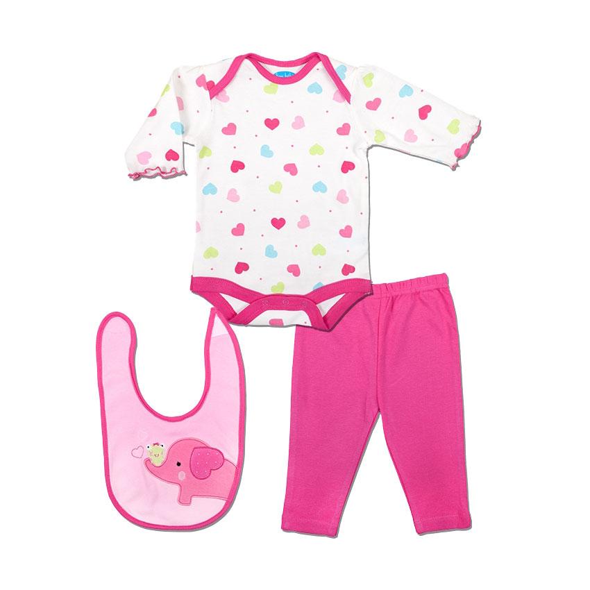 Комплект Bon Bebe Бон Бебе для девочки: боди, леггинсы, нагрудник, цвет малиновый/белый 0-3 мес. (45-61 см)
